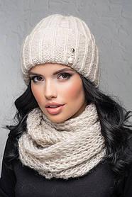 Комплект (шапка и снуд-хомут) Flirt Лика-Морган One Size лен