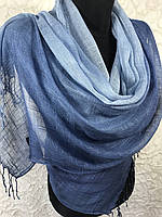 Льняной синий шарф с переходом (цв.6)