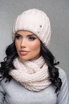 Комплект (шапка и снуд-хомут) Flirt Лика-Морган One Size пудра, фото 2