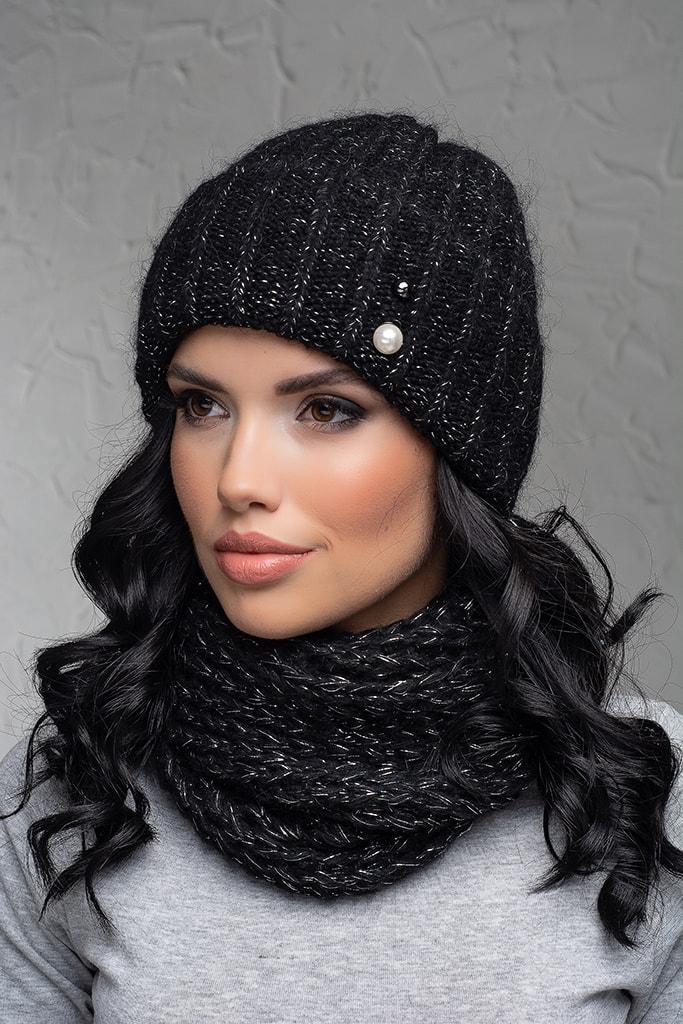Комплект (шапка и снуд-хомут) Flirt Лика-Морган One Size черный