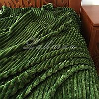 Плед-покрывало велюровое 220*200 см. | Покрывало полоска оливкового цвета | Покрывало для кровати, дивана