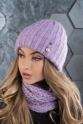 Комплект (шапка и снуд-хомут) Flirt Лика-Морган One Size сиреневый, фото 2