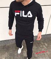Мужской тёплый чёрный спортивный костюм FILA Фила 2019 на флисе осень/зима