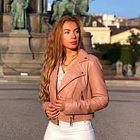 Розовая брендовая куртка из кожи, фото 1