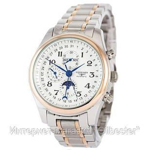 Часы мужские Longines реплика Master Collection Moonphases Steel Silver-Gold-White