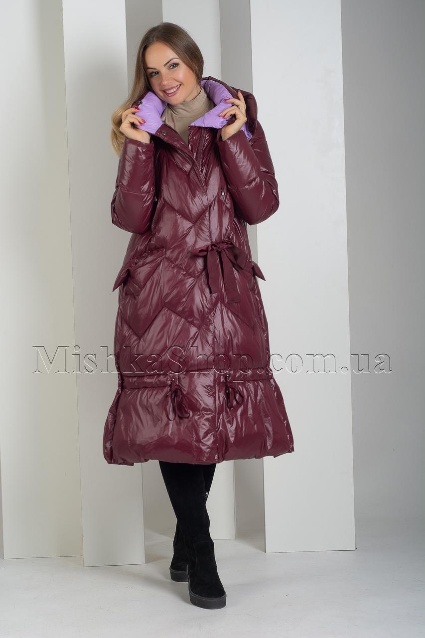 Оригинальный женственный пуховик цвета марсала Boruoss 3518 2XL