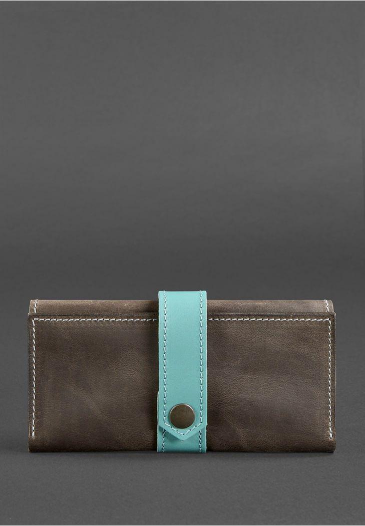 Женское портмоне кожаное. Темно-коричневое с бирюзовым