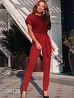 Женский брючный комбез из креп-костюмки, 00136 (Бордовый), Размер 48 (XL)