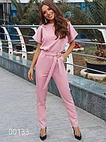 Модный комбинезон женский на все случаи из креп-костюмки, 00133 (Розовый), Размер 44 (M)