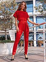 Модный комбинезон женский на все случаи из креп-костюмки, 00137 (Красный), Размер 48 (XL)