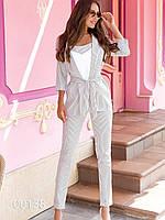 Молодежный брючный костюм для девушек, 00138 (Белый), Размер 44 (M)