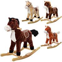 Качалка MP 0080   лошадка,72-34-63см, 4цв, звук (цоканье-ржание),шелит ртом,на бат-ке, в кульке
