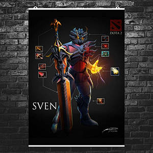 "Постер ""Дота 2: Свен"". Sven, Dota 2. Размер 60x43см (A2). Глянцевая бумага"