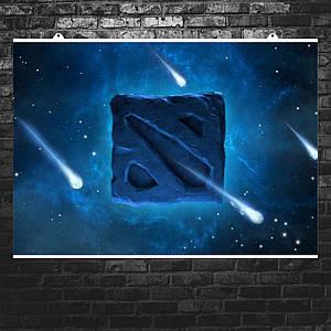 "Постер ""Дота 2: лого на синем фоне"", Dota 2. Размер 60x43см (A2). Глянцевая бумага"