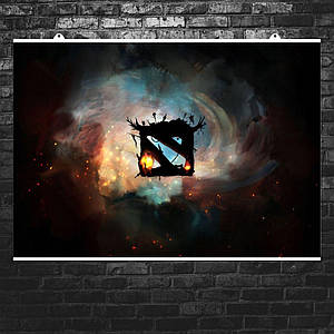 "Постер ""Дота 2: Логотип в вихре"". Dota 2. Размер 60x42см (A2). Глянцевая бумага"