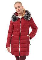 Женское зимнее стёганое пальто  с серой опушкой
