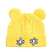 Детская шапка с ушками Жёлтый
