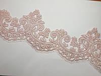 Мереживо  кружево на метраж на сітці, весільне 10 см. Ніжно рожеве, пудра. Ціна за 1 метр., фото 1