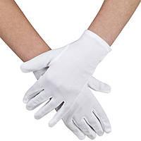 Перчатки карнавальные белые короткие эластан