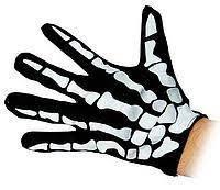 Перчатки черные с костями Скелет