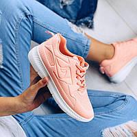 Женские легкие и мягкие персиковые кроссовки из обувного текстиля для бега