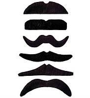 Усы карнавальные набор 6 шт