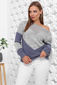 Красивый мягкий удобный и стильный двухцветный свитер