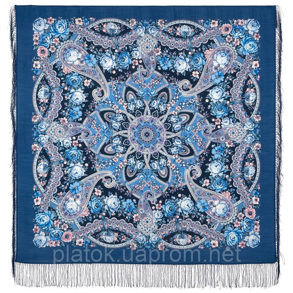 Девица-краса 1869-14, павлопосадский платок шерстяной с шелковой бахромой