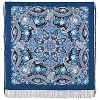 Девица-краса 1869-14, павлопосадский платок шерстяной с шелковой бахромой, фото 1