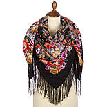 Девица-краса 1869-18, павлопосадский платок шерстяной с шелковой бахромой, фото 2