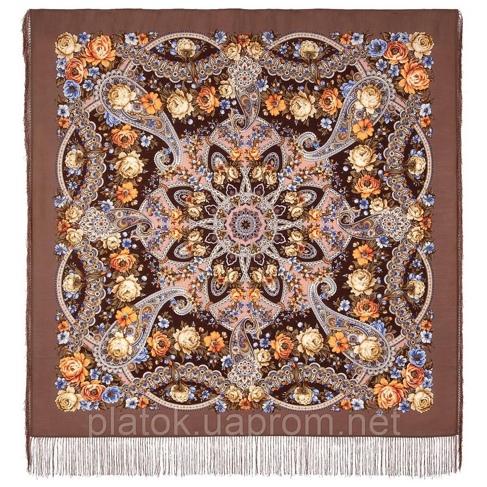 Девица-краса 1869-16, павлопосадский платок шерстяной с шелковой бахромой