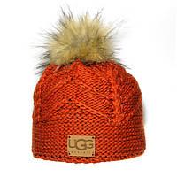 Брендовая женская вязаная шапка с бубоном Ugg оранжевая качественная новинка 2019 года шерсть зима Уг реплика