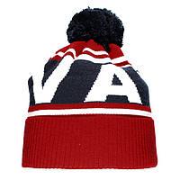Брендовая новинка 2019 года мужская вязаная шапка с бубоном Vans красная шерстяная теплая Ванс люкс реплика