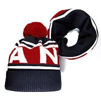 Мужской комплект набор вязаная шапка с бубоном и хомут шарф Vans темно-синий зимний Ванс реплика