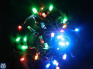 Гирлянда-нить 50 LED уличная мультицветная, 5 метров, черный провод