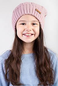 Вязанная зимняя  шапка для девочки с подкладкой из флиса  - Артикул 2476 оптом