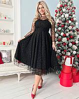 Батальное нарядное платье длины миди