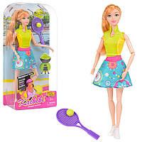 Кукла теннисистка шарнирная 30см, теннисная ракетка, мяч.