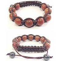 Кожаный браслет из авантюрина shamballa