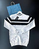 😜 Свитшот - Мужской свитшот белый с двумя черными полосками