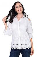 Біла блуза з тканини-батист з вишивкою (не стрейч)