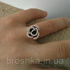 Кольцо цветок розы с чёрной эмалью и Swarovski ювелирная бижутерия, фото 3
