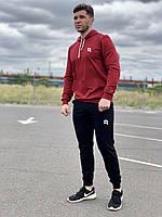 Мужской спортивный костюм Reebok (рибок) - бордовая худи и черные штаны  / Весна-осень