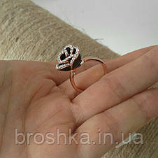 Кольцо цветок розы с чёрной эмалью и Swarovski ювелирная бижутерия, фото 2