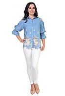 Легкая и свободная блуза  из ткани облегченный джинс