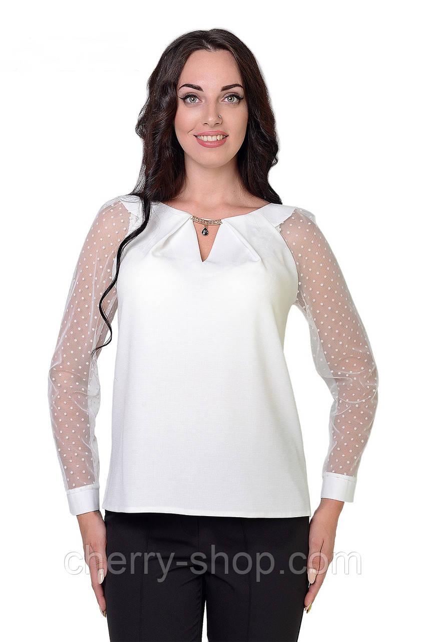 Деловая белая женская блуза