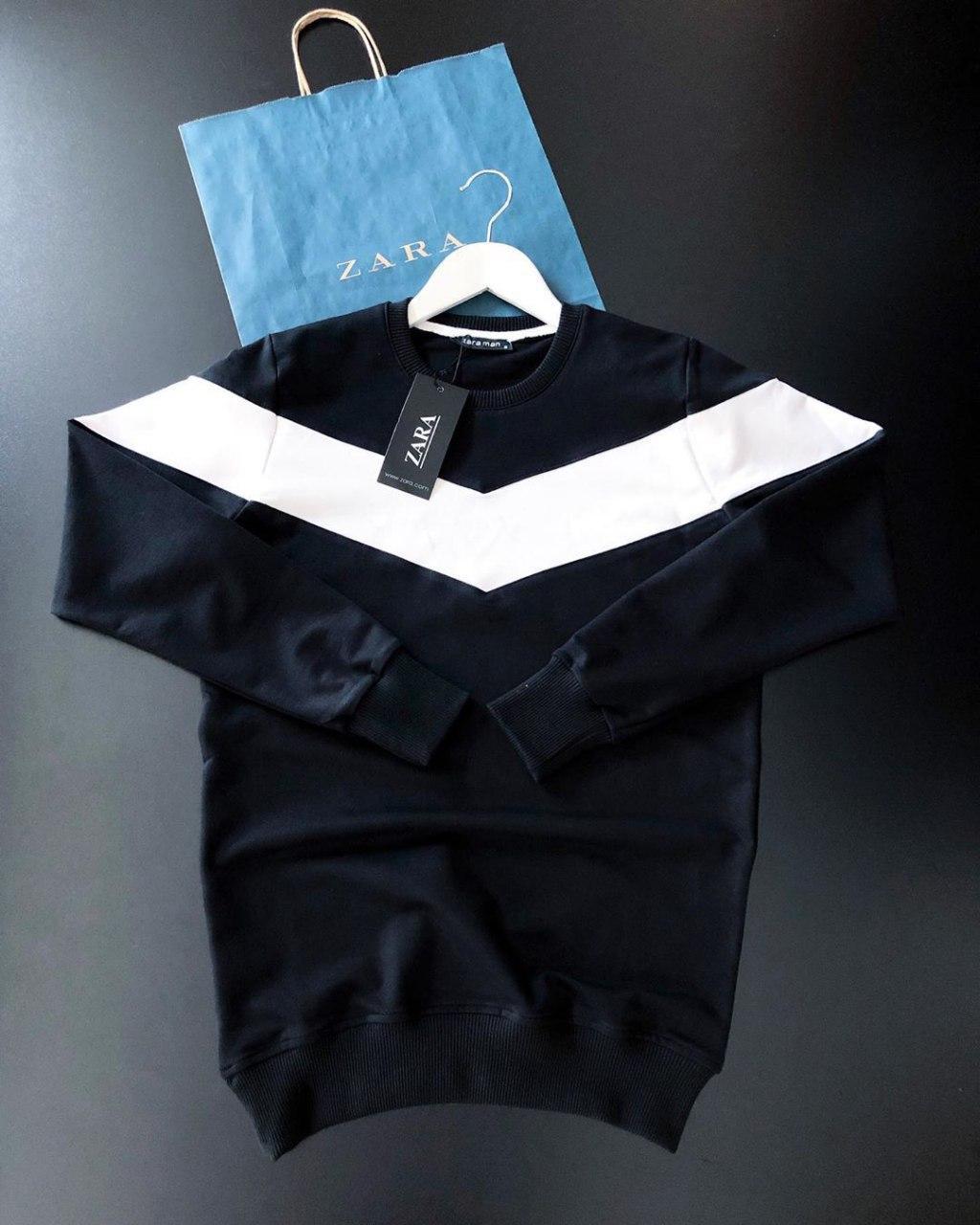 😜 Свитшот - Мужской свитшот черный с белой полоской ZARA