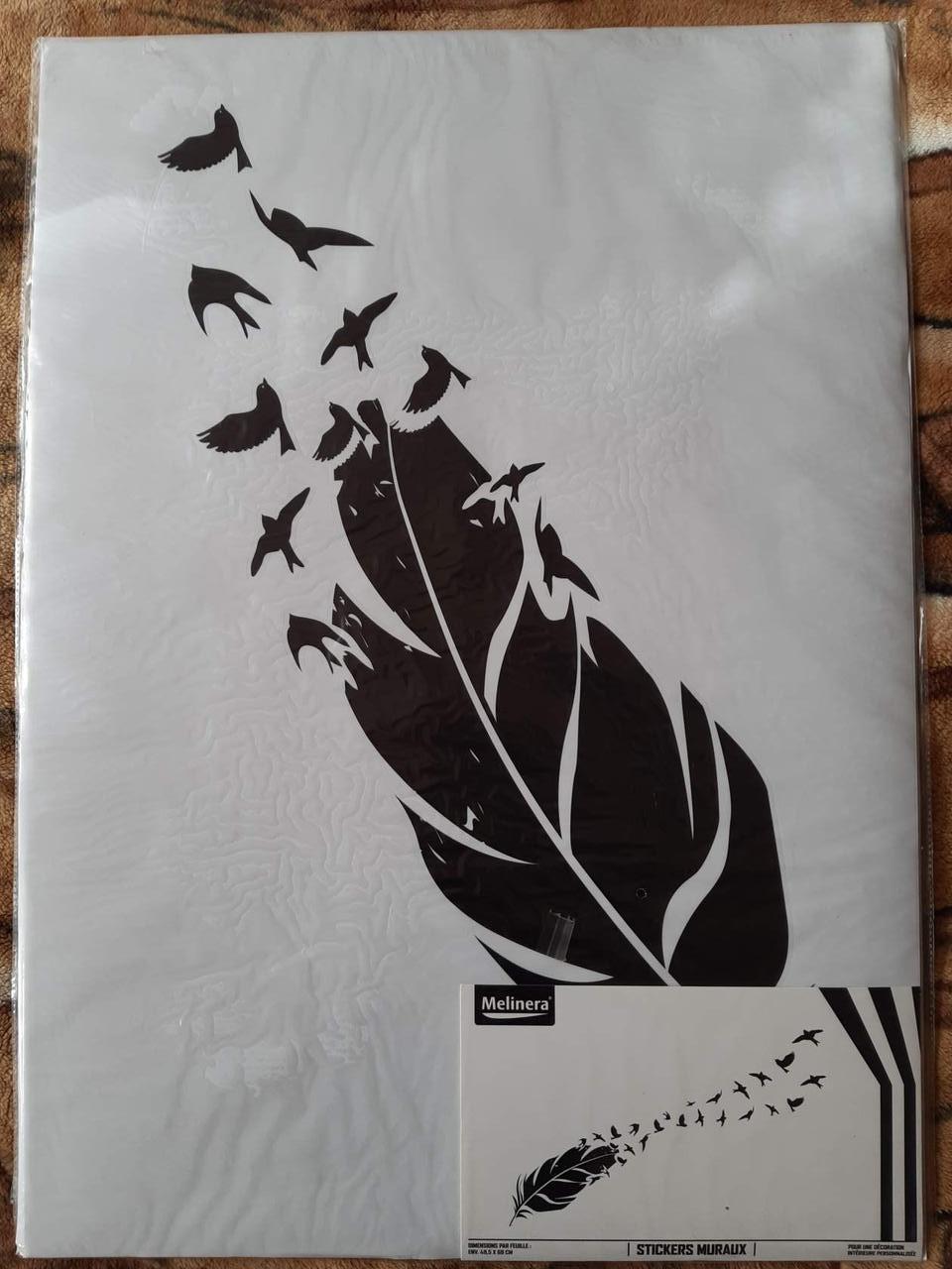 Наклейка настенная Melinera перо/птицы - 69*49,5см