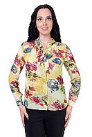 Шифоновая женская блуза в размере 46,48 в цветочный принт