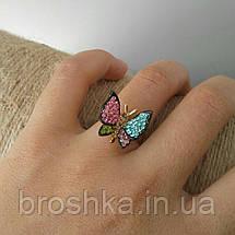 Кольцо бабочка ювелирная бижутерия с разноцветными камнями 16й размер, фото 2